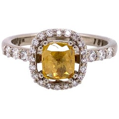 18 Karat White Gold Yellow Rose Cut Diamond Ring with White Diamond Halo
