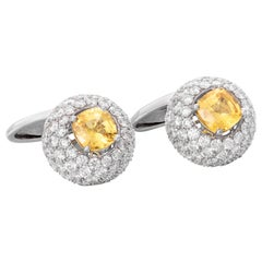18 Karat White Gold Yellow Sapphire Diamond Cufflinks