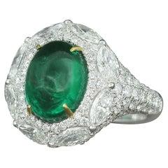 18 Karat White Gold Zambian Emerald 3.89 Carat Cabochon Diamond Cocktail Ring