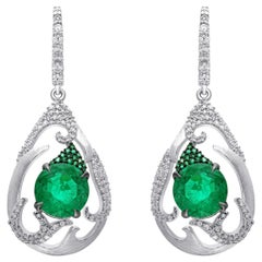 18 Karat White Gold Zambian Emerald and Diamond Earrings