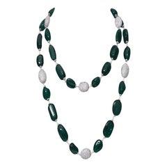 18K White Gold Zambian Emerald and Diamond Necklace