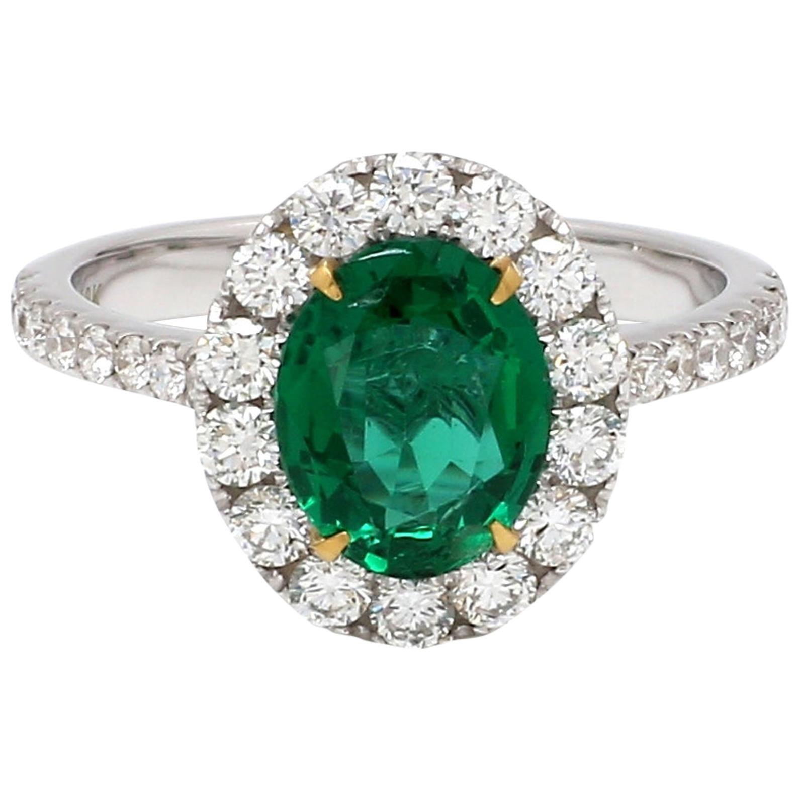 18 Karat White Gold Zambian Emerald Halo Diamond Ring