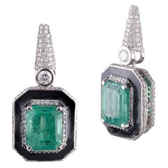 18 Karat White Gold Zambian Emerald White Diamond Dangling Earrings