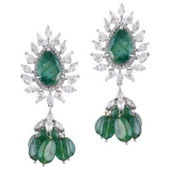 18 Karat White Gold Zambian Emerald White Diamond Stud Earrings