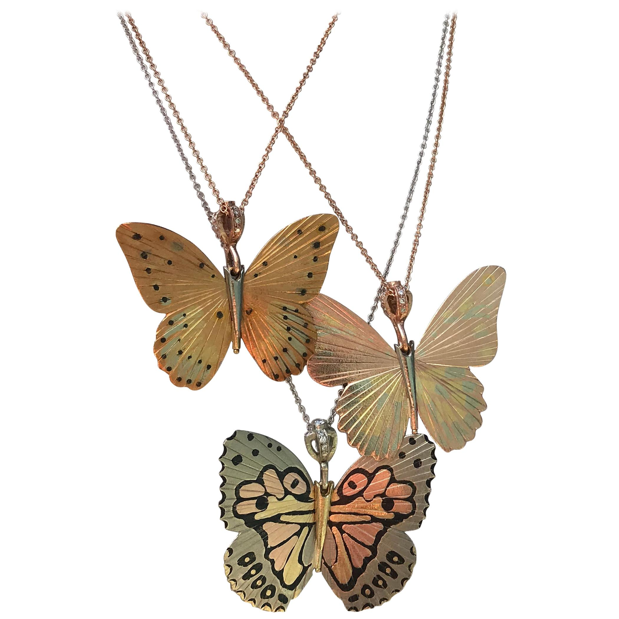 18 Karat White Kamehameha Hawaiian Butterfly Hinge Necklace