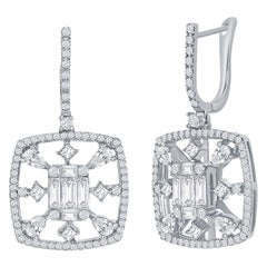 18 Karat White Multi-Cut Diamond Earrings 2.50 Carat
