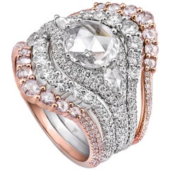 Rarever 18K White  Rose Gold Rose Cut Diamond Pave Stacking 3.11cts Ring