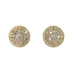 18 Karat White Round Pave Diamond Stud Pierced Earrings