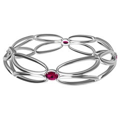 18 Karat White Ruby Arabesque Wings Bracelet