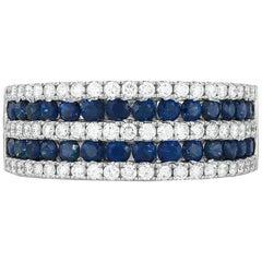 18 Karat White Sapphire and Diamond Band
