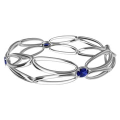 18 Karat White Gold Sapphire Arabesque Wings Bangle