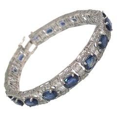Certified Blue Sapphire Diamond 18K Bracelet