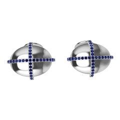 18 Karat White Sapphire Dome Cross Cufflinks