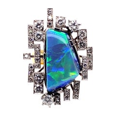 18 Karat White Yellow Gold 14.50 Carat Australian Opal Diamond Cocktail Ring