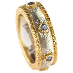18 Karat White Yellow Gold Blue Sapphire 7 Round Gems Legacy Royal Band Ring