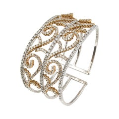 18 Karat White Yellow Gold Diamonds Cuff Bracelet