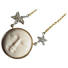 18 Karat White Yellow Gold Diamonds Necklace Full Moon Shape