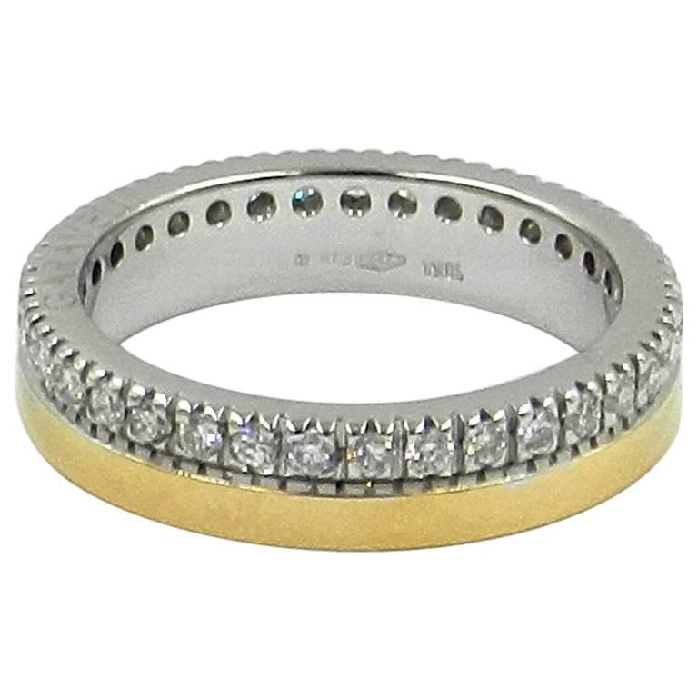 18 Karat White Yellow Gold Garavelli Diamond Band Ring
