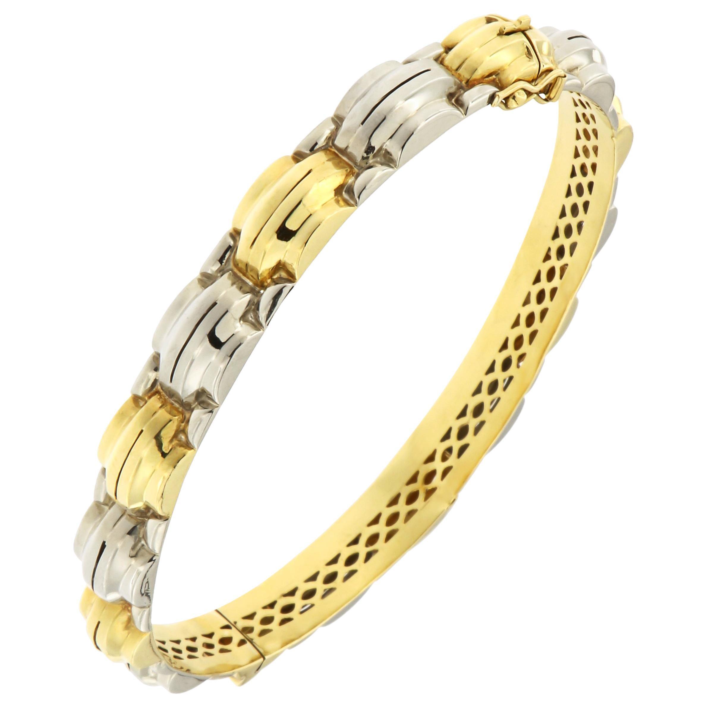18 Karat White Yellow Gold Rigid Cuff Bracelet Handcrafted in Italy