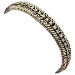 18 Karat Whitegold Bracelet, Set with 60 Natural Diamonds, Italy, 1960