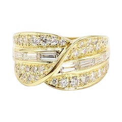 18 Karat Wide Baguette and Round Diamond Ring