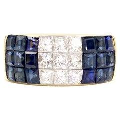 18 Karat Wide Blue Sapphire and Diamond Modern Band