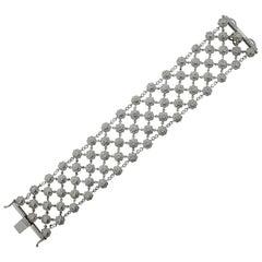 18 Karat Wide Flexible Diamond Bracelet with 10 Carat