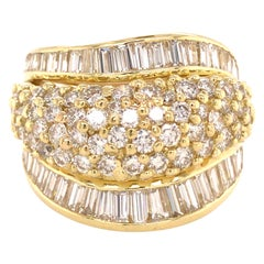 18 Karat Wide Round and Baguette Diamond Band Yellow Gold