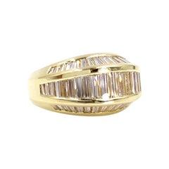 18 Karat Wide Three-Row Baguette Diamond Band Ring