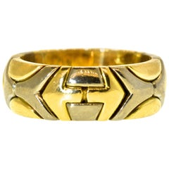18 Karat Wide Yellow and White Gold Contemporary Band