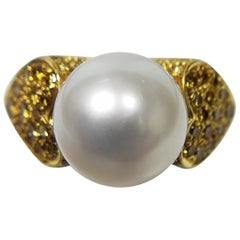 18 Karat with Natural Fancy Yellow Diamonds and South Sea Pearl Ring
