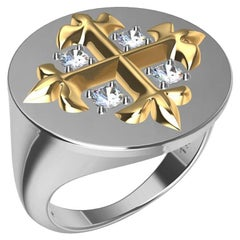 18 Karat Yellow and 18 Karat White Fleur di Lis Diamonds Cross Signet Ring