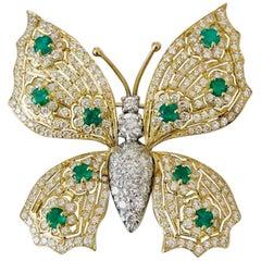 "18 Karat Yellow and Platinum Emerald and Diamond ""Butterfly"" Broach"