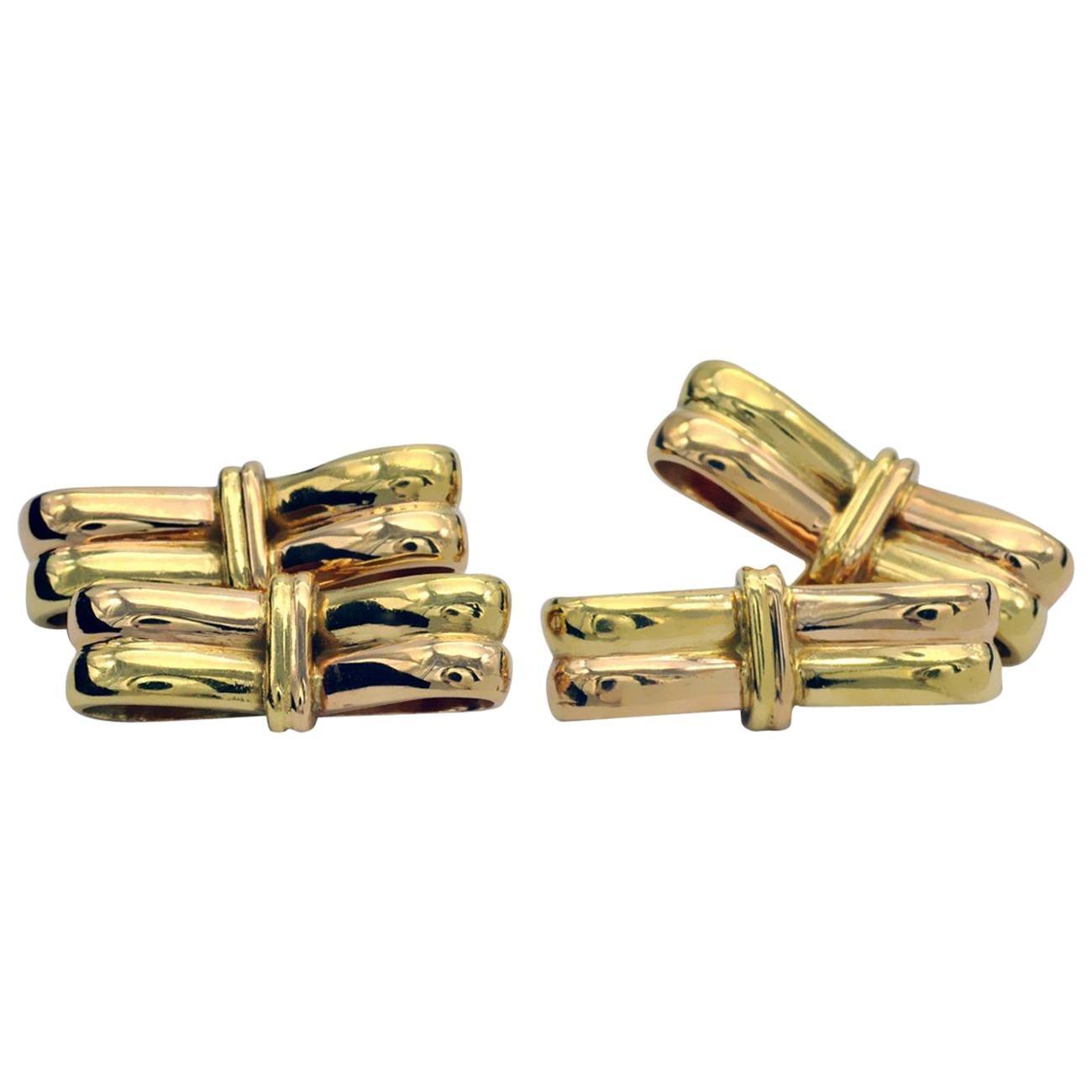 18 Karat Yellow and Rose-Gold Cufflinks