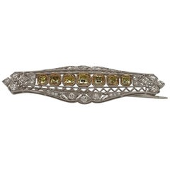 18 Karat Yellow and White Diamond Brooch, Art Deco Style, Approximately 2.50 cts