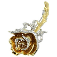 18 Karat Yellow and White Diamonds Rose Flower Brooch