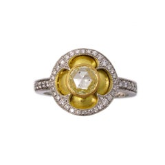 William Llewellyn Griffiths Yellow and White Gold Diamond Quatrefoil Ring