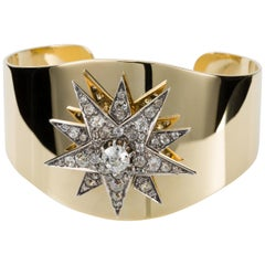 18 Karat Yellow and White Gold 3.10 Carat Diamond Set Victorian Star Motif Cuff
