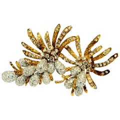 18 Karat Yellow and White Gold and Diamond Brooch