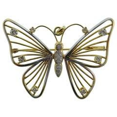 18 Karat Yellow and White Gold and Diamond Butterfly Pendant or Brooch Vintage