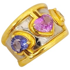 18 Karat Yellow and White Gold Band with Yellow, Pink and Blue Sapphire Hearts