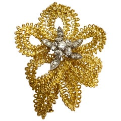 18 Karat Yellow and White Gold Brooch, Diamonds, France, 1960