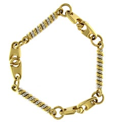 18 Karat Yellow and White Gold Chain Massif Effect Bracelet