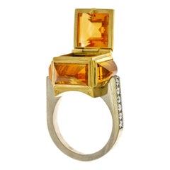 18 Karat Yellow and White Gold, Citrine and Diamond Brutalist Ring