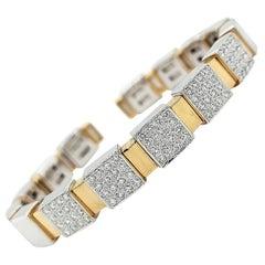 18 Karat Yellow and White Gold Clamper Bracelet With 1.6 Carat Diamonds