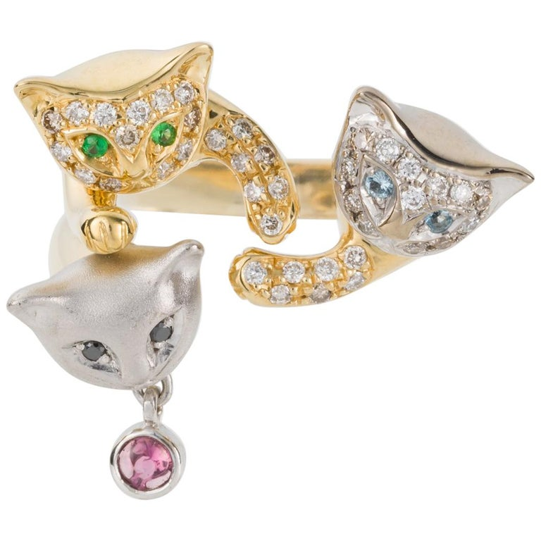 18 Karat Yellow and White Gold Diamond and Gemstone Set Cat Lovers Cocktail Ring For Sale