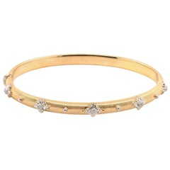 18 Karat Yellow and White Gold Diamond Bangle Bracelet