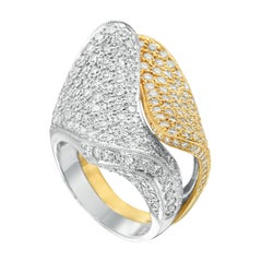 18 Karat Yellow and White Gold Diamond Bypass Ring