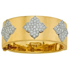 18 Karat Yellow and White Gold Diamond Cuff-Bangle Bracelet