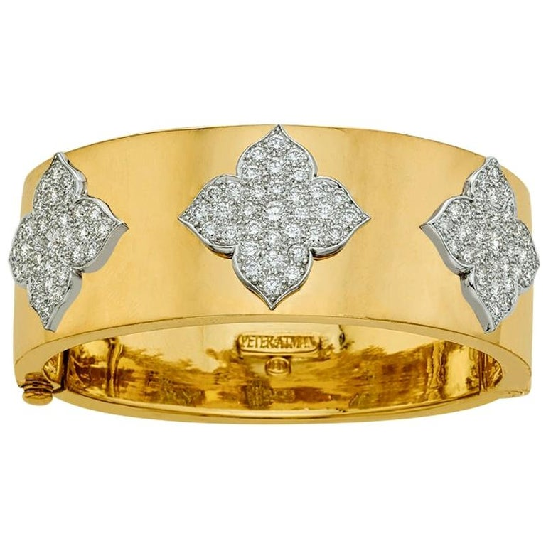 18 Karat Yellow and White Gold Diamond Cuff-Bangle Bracelet For Sale